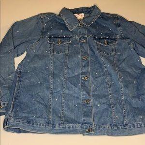 QUACKER FACTORY Rhinestone Denim Jacket size large